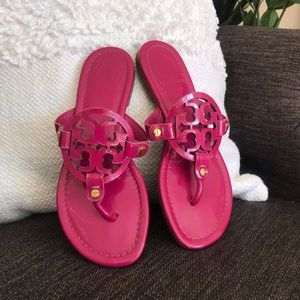 274b8dcd149955 Tory Burch Shoes - Tory Burch Hot Pink Patent Miller Reva Logo Sandal